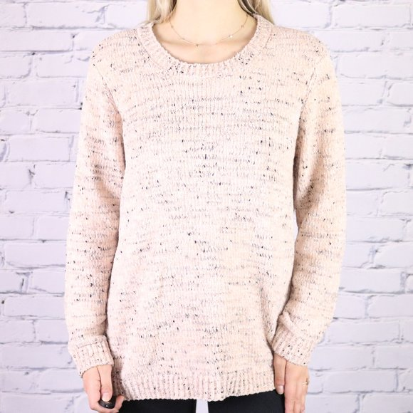 NWT Calvin Klein pink and grey chenille sweater b2